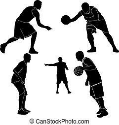 atletas, hombres, juego, Basketbal
