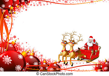 Santa claus with his sleigh - 3d rendered illustration of...
