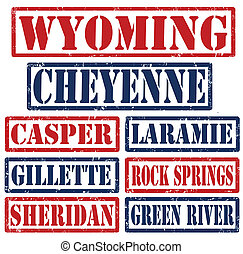 Wyoming Cities stamps - Set of Wyoming cities stamps on...