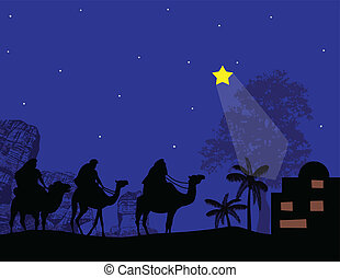 Three Kings and shining star - Silhouette of Three Kings and...