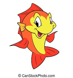 Red Yellow Fish - Cartoon fish for design element