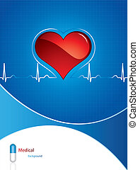 Medical background  - Heartbeat on blue medical background