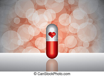 Red pill and heartbeat symbol on re - Beautiful red pill -...