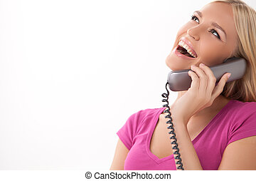 Hello!, bonito, jovem, mulheres, falando, telefone,...