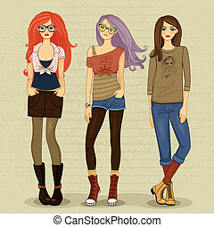 modern girl - Set of modern girls vector illustration...