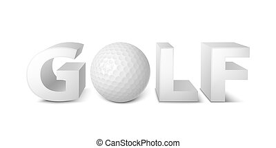 golf logo - Golf ball logo, emblem template 3d vector...