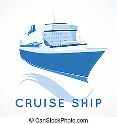 cruise ship label - Cruise ship label vector illustration