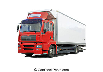 Red Delivery Truck Isolated Over White