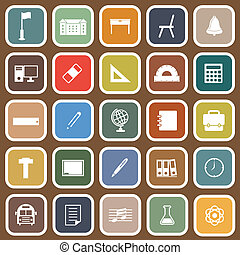 School flat icons on brown background