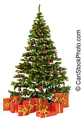 Christmas fir tree and presents gifts box over white...