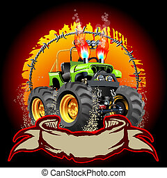 Cartoon Monster Truck. One-click repaint. Available EPS-10...