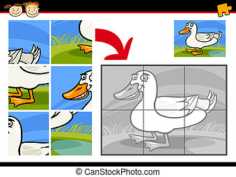 cartoon duck jigsaw puzzle game - Cartoon Illustration of...