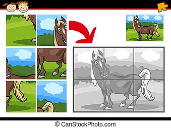 cartoon horse jigsaw puzzle game - Cartoon Illustration of...