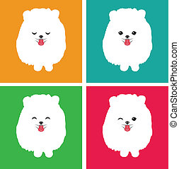 Vector image of an dog  pomeranian on white background