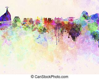 Rio de Janeiro skyline watercolor - Rio de Janeiro skyline...