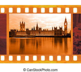 vintage old 35mm frame photo film with Famous and beautiful view to Big Ben and  Parliament, UK