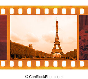 vintage old 35mm frame photo film with Eiffel Tower in...