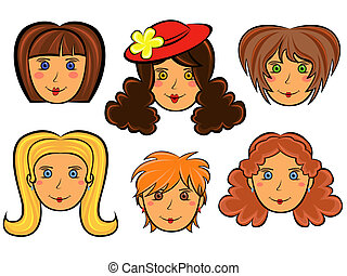 Set of six cartoon women faces - Set with six funny women...