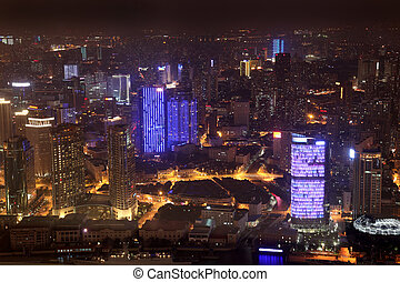 Aerial view Night in Shanghai, China