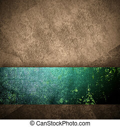 abstract brown background with grunge green ribbon -...