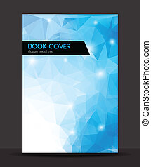 Blue polygon vector brochure / booklet cover design...