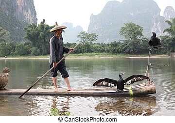 YANGSHUO - JUNE 18: Chinese man fishing with cormorants...