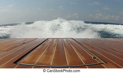 Wash wake of a boat in the mediterranean sea