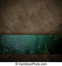 dark brown and green grunge background with copy space