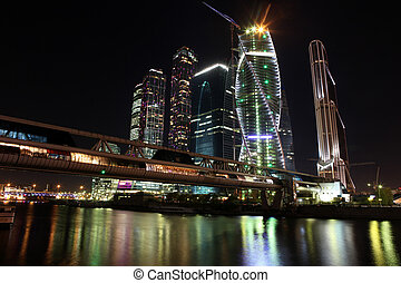 Beautiful night view Skyscrapers City international business...