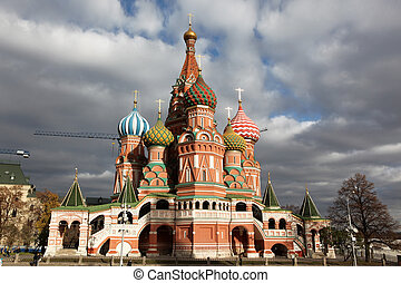 Famous view of Intercession Cathedral St. Basil's on Red...