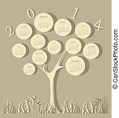 Tree calendar for 2014 year with white circles