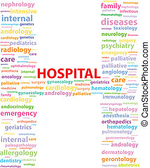 Hospital Sign With Medical Specialties Word Cloud Vector...