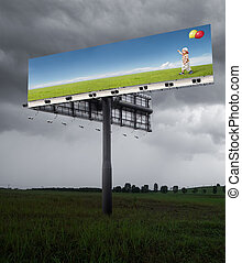 better tomorrow - billboard on the field with cloudy sky
