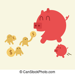 Feed pig with coins. Piggy bank have small son. Saving or...