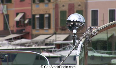 Detail of fancy vintage boat docked in Portofino bay, Italy