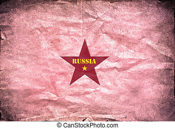 Vintage paper, Russian red star - Vintage paper with a...
