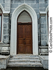 old wood church door