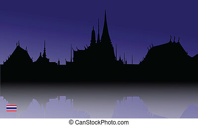 Silhouette  of The Grand Palace