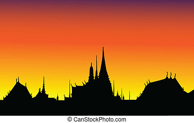 Silhouette  of The Grand Palace of Thailand