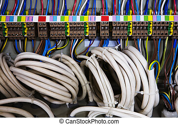 Color wires in a box of distribution of an electricity