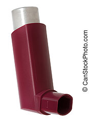 Inhaler with a drug on a white background