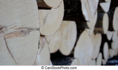 A more up-close image of the wood ends of the logs - A more...