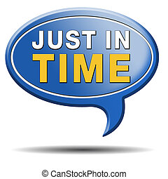 just in time delivery sign or icon under time pressure...