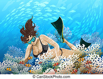 Coral reef - Illustration with young girl in flippers...
