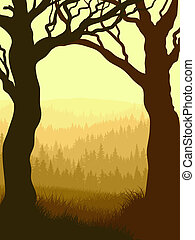 Vertical illustration within wood. - Vector illustration of...