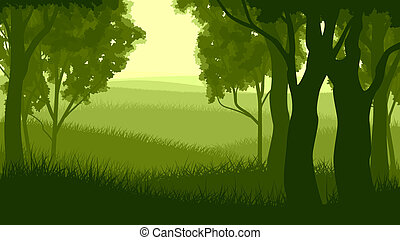 Landscape within forest - Vector illustration of tree trunks...