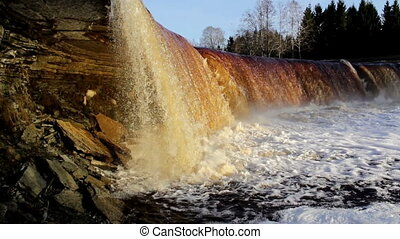 Cloud of water bubbles at the waterfalls - Estonian bigest...