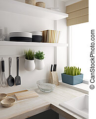 Closeup of kitchen room design