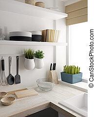 Closeup of kitchen room design