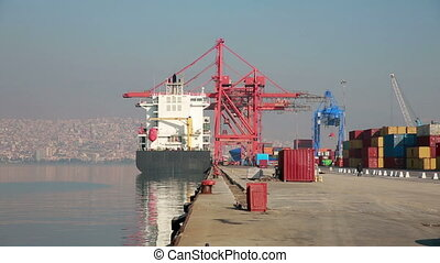 Freight ship moored in harbour - Freight ship moored in the...